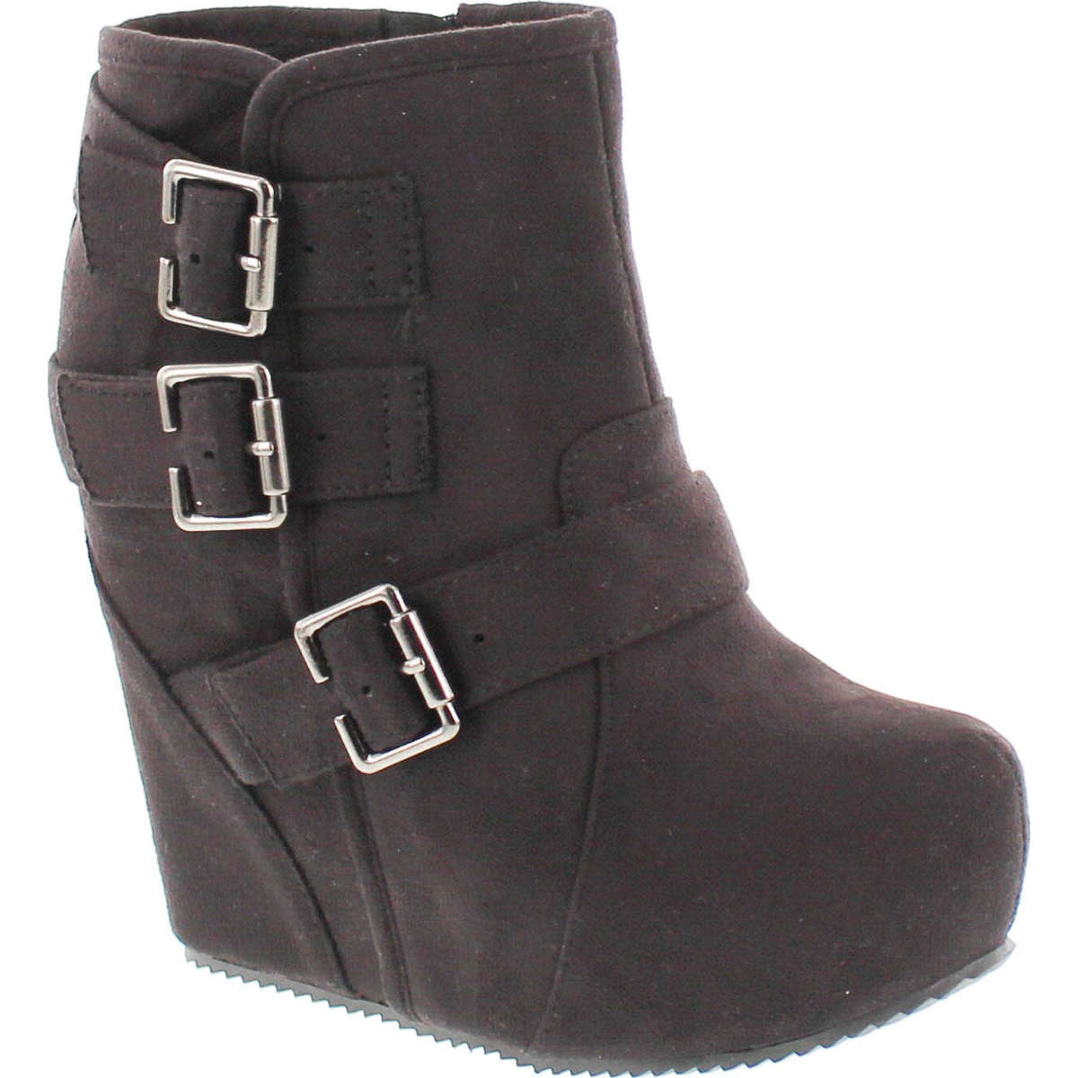 Soda Women's Besso Faux Suede Triple Buckle Platform Wedge Ankle Bootie Boot