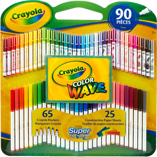 Crayola Super Tips/Pip-Squeaks Color Wave Markers with Construction Paper, 90 Pieces