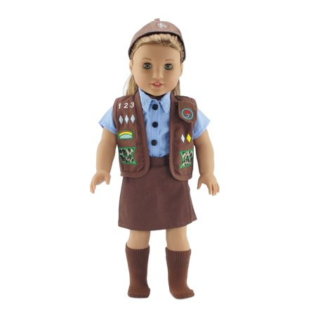 18 Inch Doll Clothes Modern Brownie Girl Scout Inspired Uniform Outfit | Fits 18