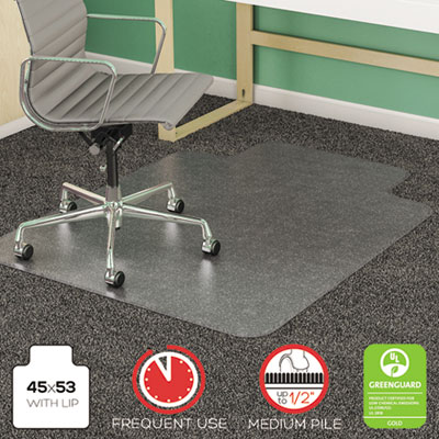 SuperMat Frequent Use Chair Mat, Medium Pile Carpet, Beveled, 45x53 w/Lip, Clear, Sold as 1 Each