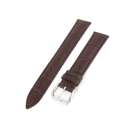 Fashion Faux Leather Alligator Grain Wrist Watch Band Strap Brown 18mm