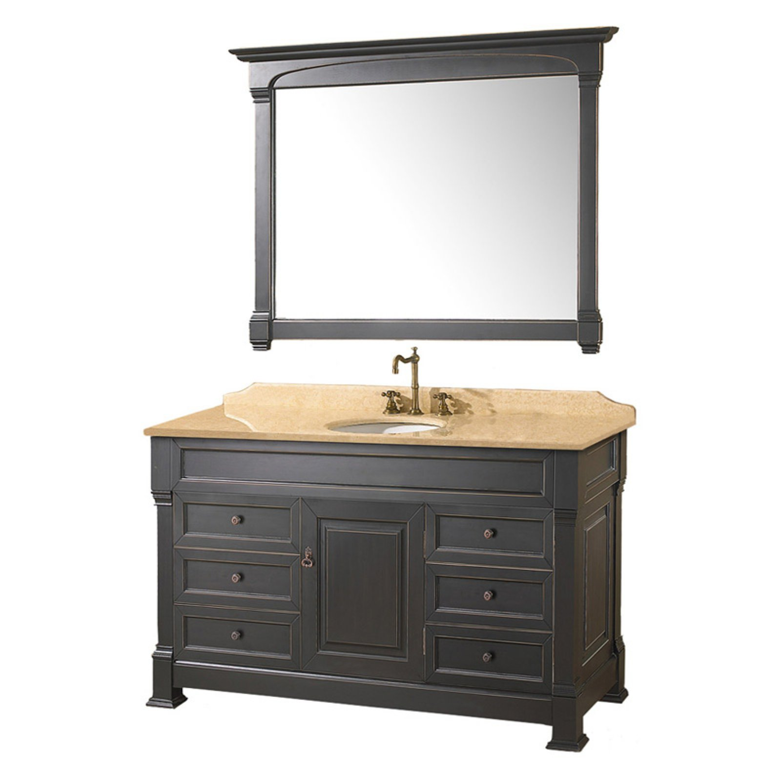 Wyndham Collection Andover 55 Inch Single Bathroom Vanity In Black, Ivory  Marble Countertop, Undermount