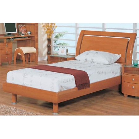 Wood Sleigh Twin Bed in Cherry Finish