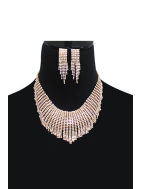 85b05ea719 Product Image Party Rhinestone Crystal Stud Drop Tassle Earring Necklace-Gold Clear.  Genx