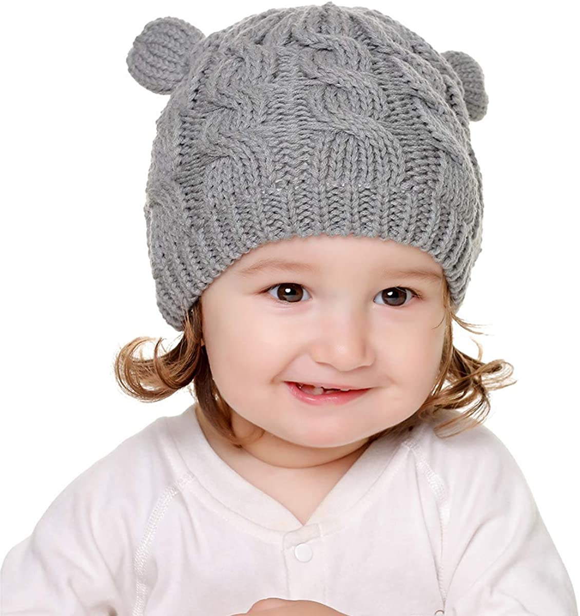 NCONCO Winter Baby Hat Mitten Set Cute Knitted Warm Beanie Hat for 0-18M Toddler Boys Girls
