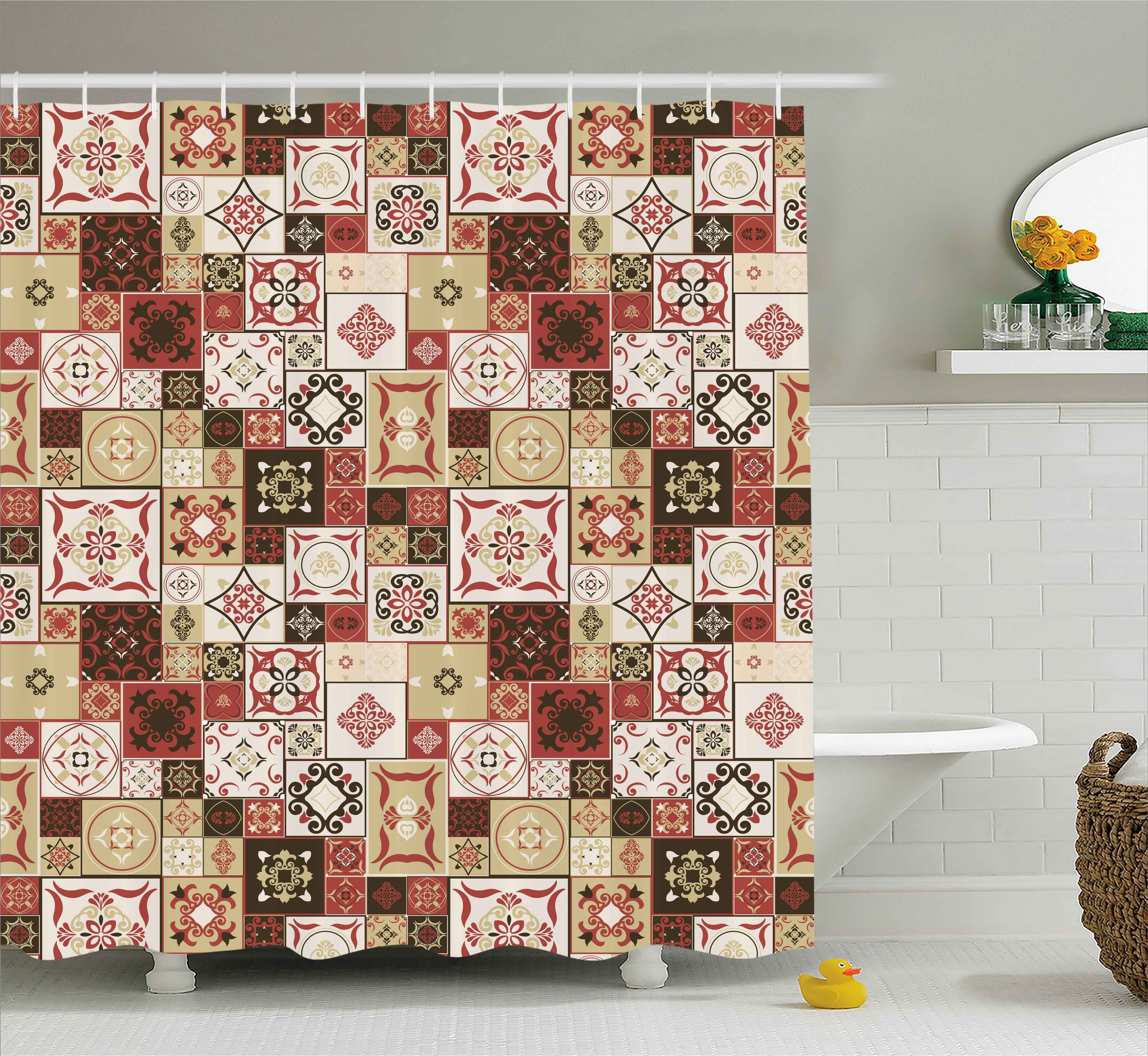 Moroccan Shower Curtain, Tile Pattern with Squares of Various Sizes Eastern Inspired Oriental, Fabric Bathroom Set with Hooks, 69W X 70L Inches, Cream Dark Coral Brown, by Ambesonne