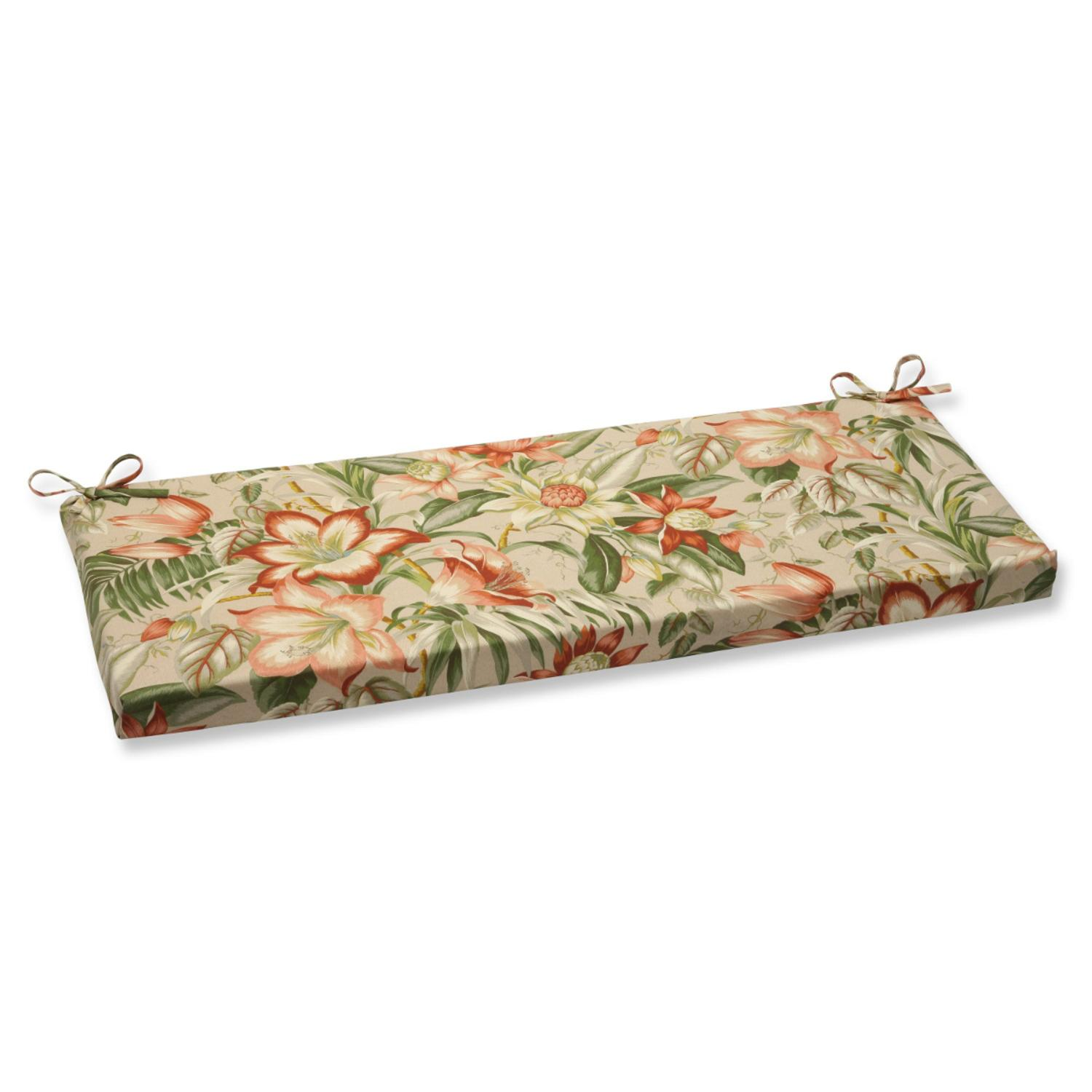 "45"" Green, Tan and Coral Tropical Garden Decorative Outdoor Patio Bench Cushion"
