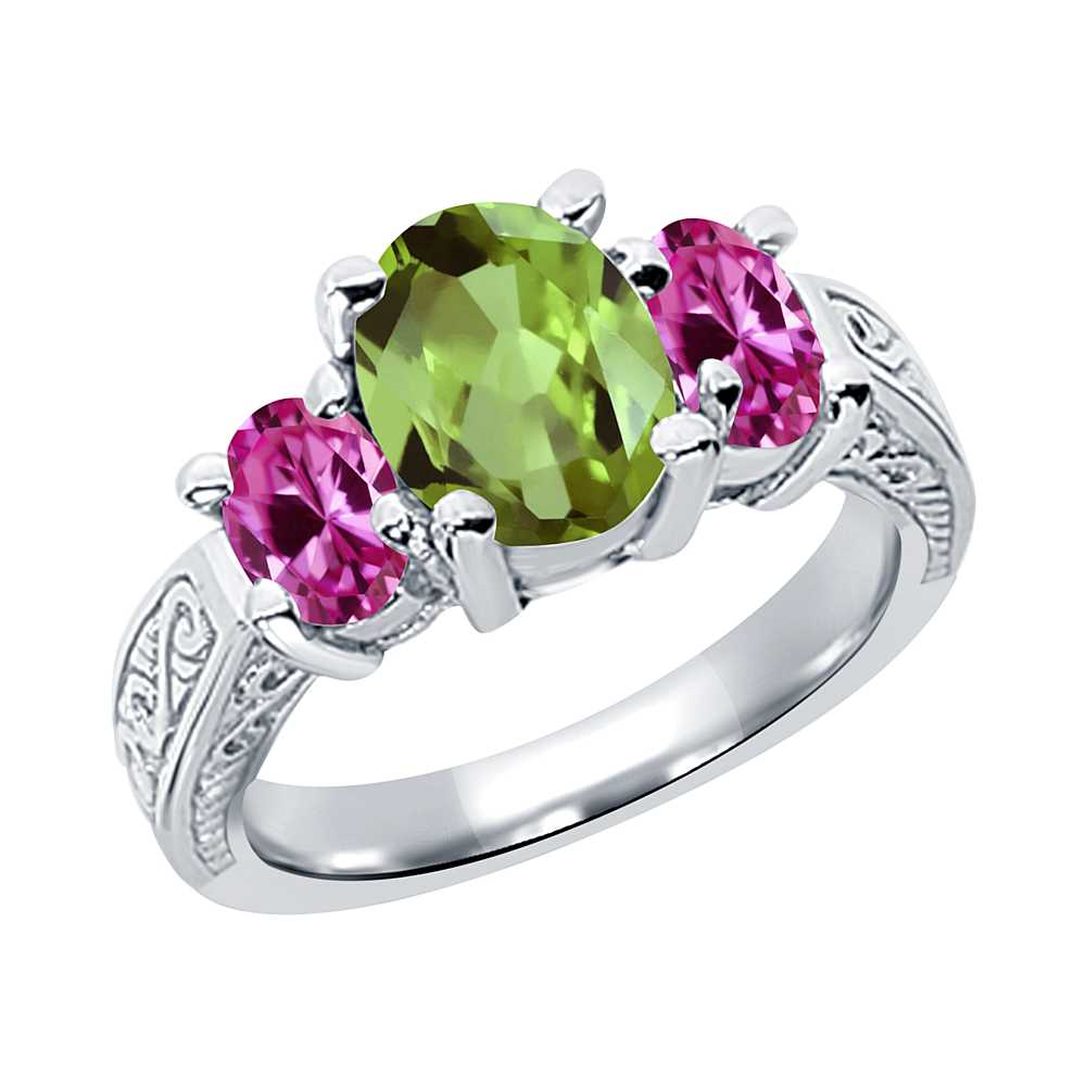 2.55 Ct Oval Green Peridot Pink Created Sapphire 925 Silver 3-Stone Ring
