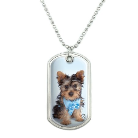 Yorkie Yorkshire Terrier Puppy Dog Blue Bow Tie Military Dog Tag Pendant Necklace with Chain