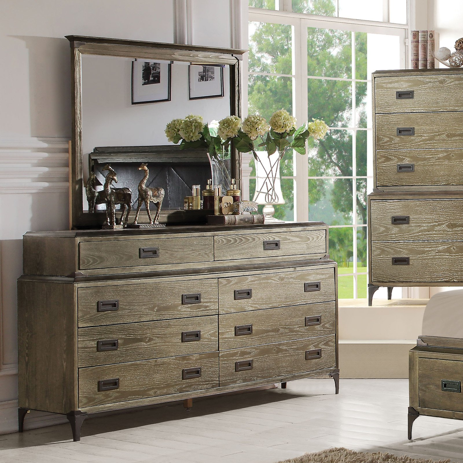 Acme Furniture Athouman Weathered Oak 8 Drawer Dresser with Optional Mirror