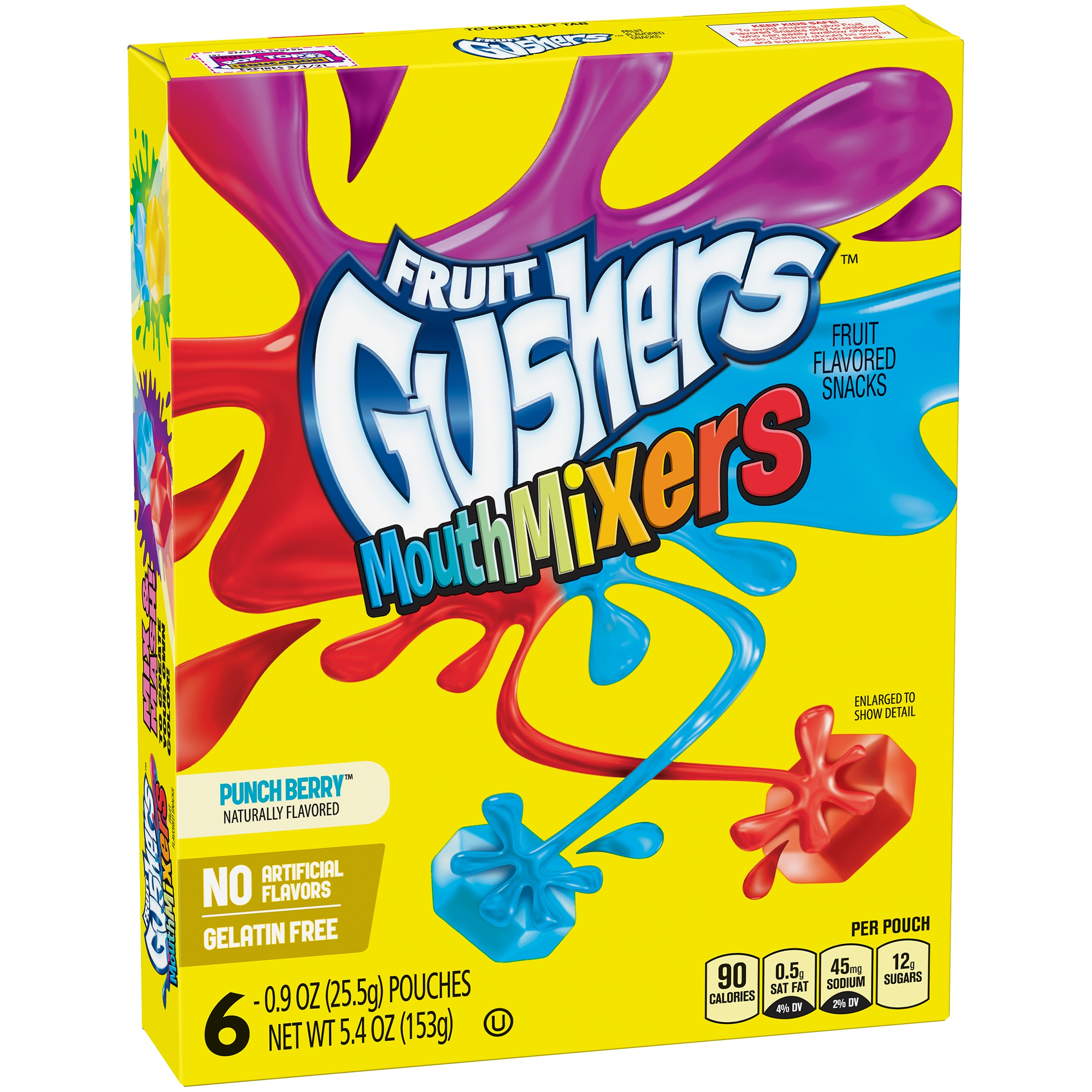 Betty Crocker® Fruit Gushers Fruit Snacks Mouth Mixers Punch Berry 6 - 0.9 oz Pouches