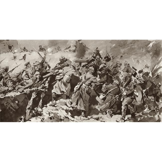 British Troops Overrun German Trench During The Battle of Neuve Chapelle On The Western Front, France, During The First World War From The Illustrated War News Published 1915 Poster Print, - image 1 of 1