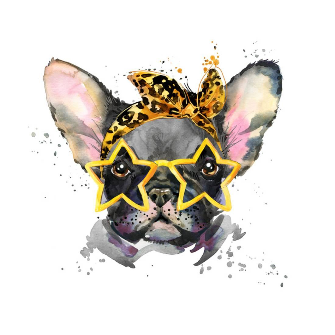 French Bulldog Cute Puppy Dog Watercolor Puppy Dog Illustration