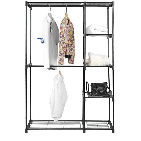 (Deluxe Double Rod Closet Wardrobe Metal Free Standing Sturdy Garment Rack Clothes Storage Organizer Black)