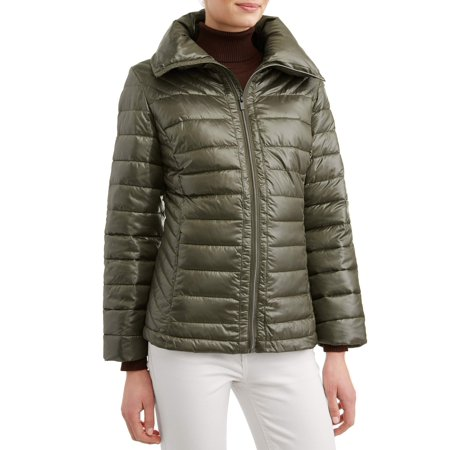 Women's Down Blend Quilted Jacket with Convertible Collar