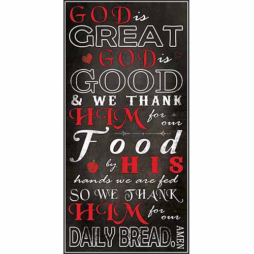 God Is Great God Is Good Kitchen Dinner Prayer Religious Typography Black & Red Canvas Art by Pied Piper Creative