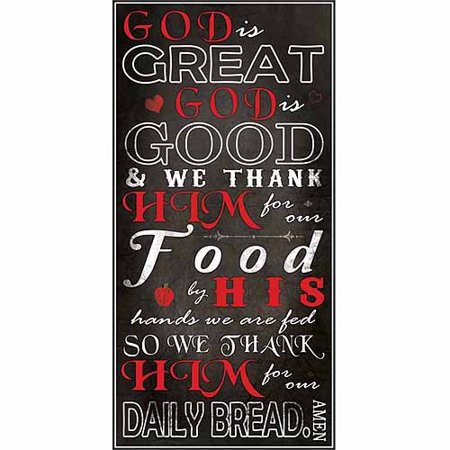 Religious Canvas - God Is Great God Is Good Kitchen Dinner Prayer Religious Typography Black & Red Canvas Art by Pied Piper Creative