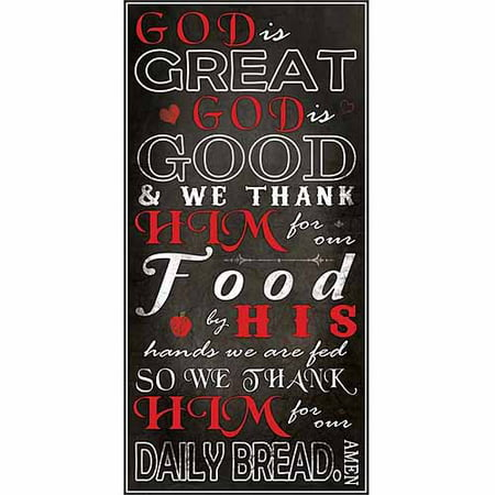 Art Dinner - God Is Great God Is Good Kitchen Dinner Prayer Religious Typography Black & Red Canvas Art by Pied Piper Creative