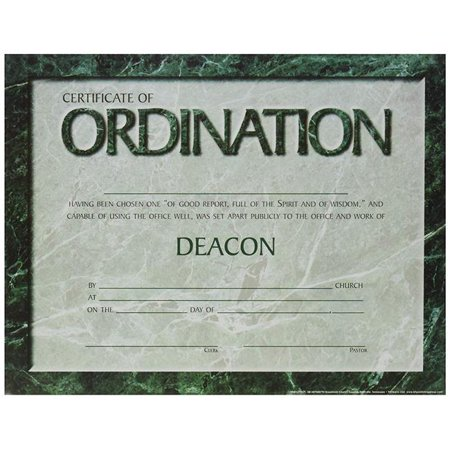 B & H Publishing 152904 5.5 x 3.5 in. Certificate Ordination Deacon - Pack of