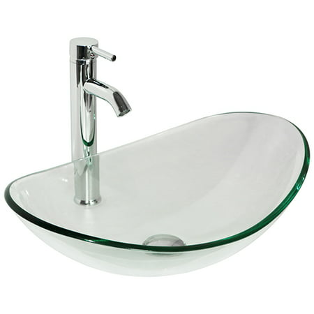 Oval Natural Clear Tempered Glass Bathroom Vessel Sink w/ Faucet & Drain