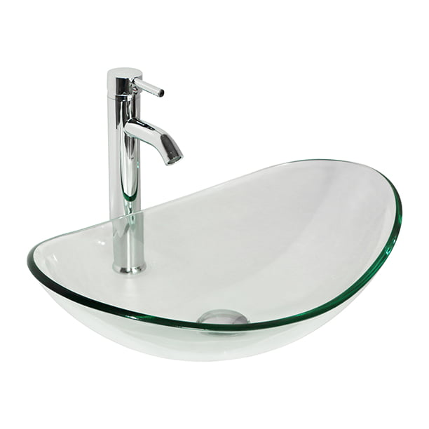 Wonline Oval Clear Tempered Glass Bathroom Vessel Sink Bowl Without Overflow Equipped With Chrome Faucet Pop Up Drain Combo Walmart Com Walmart Com