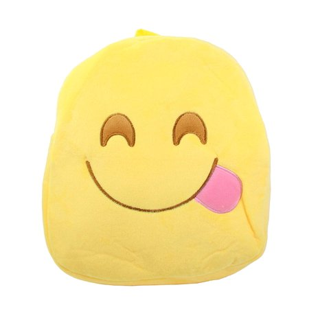 Cute Emoji Smiling Yummy Face with Side Tongue Kids Children Backpack Bag Satchel New (Tongue Swirl Emoji)