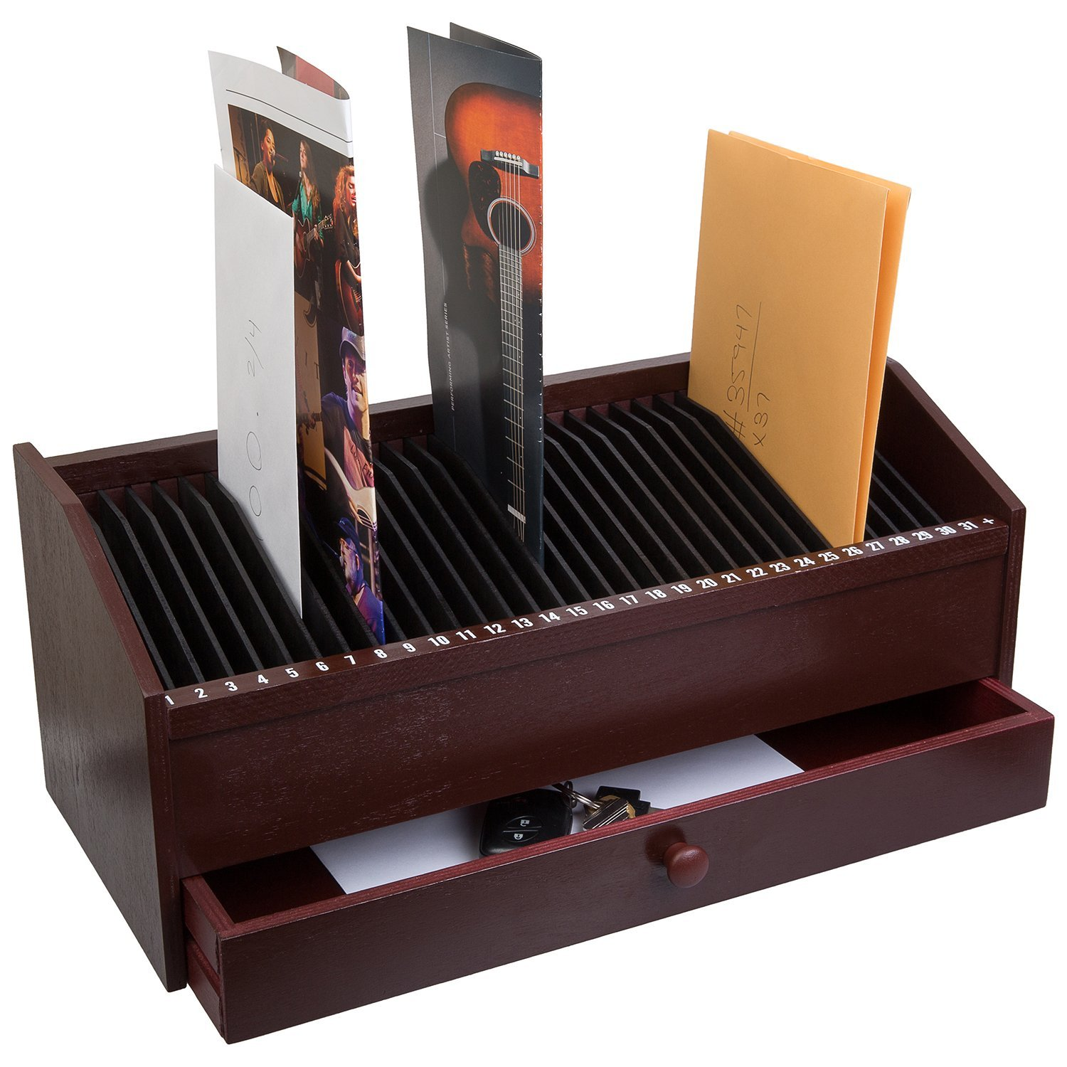 "Db Roth 17"" - 31 Slot Wooden Bill/Letter Organizer With D..."