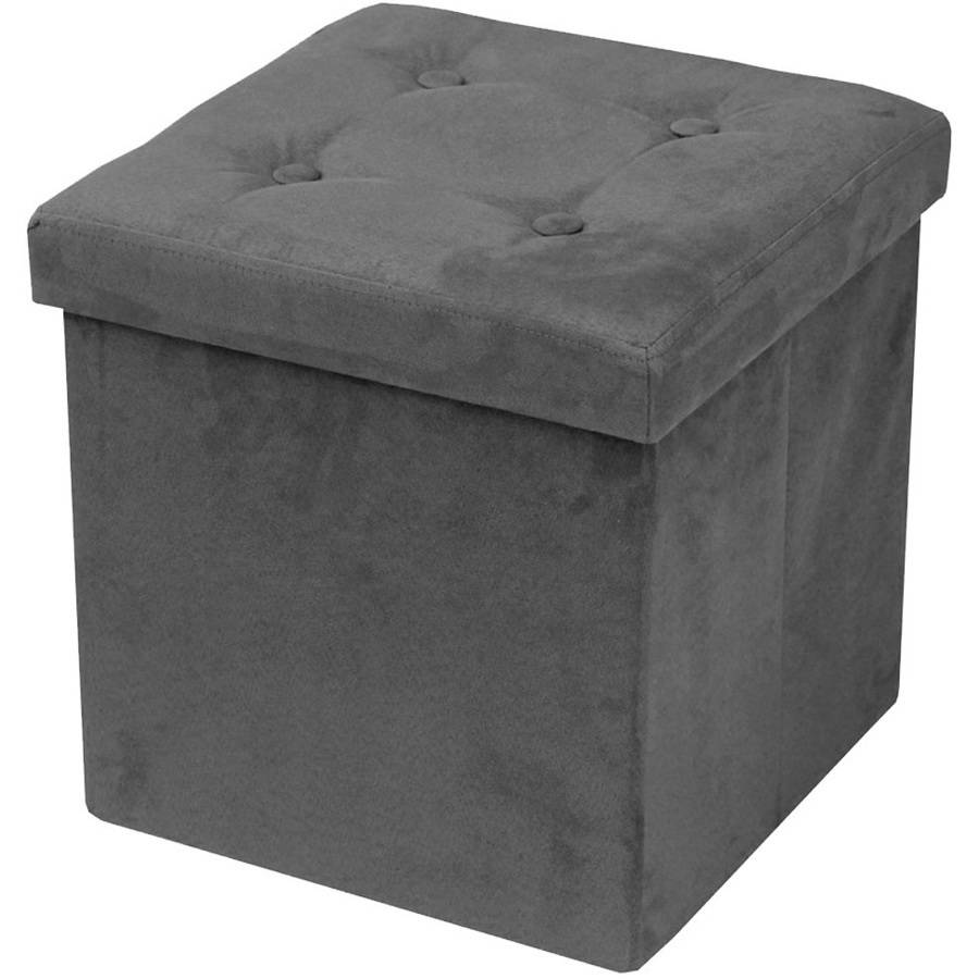 Foldable Storage Ottoman With Cover, Suede