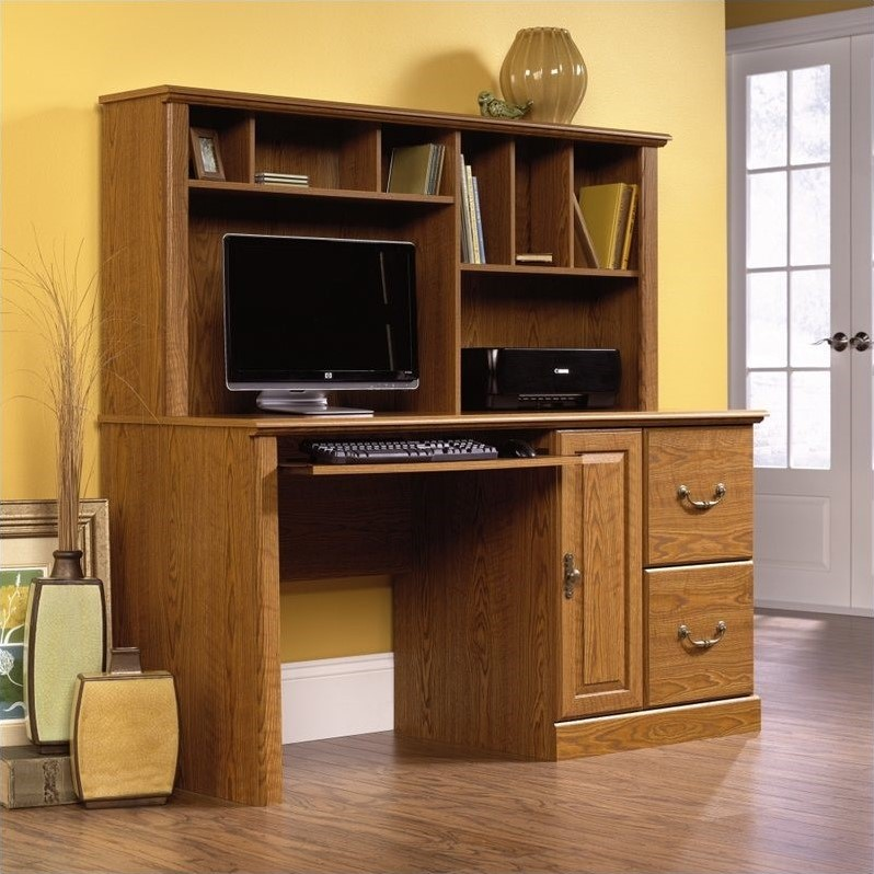 cherry hutch desk with sauder beginnings walmart ip com cinnamon