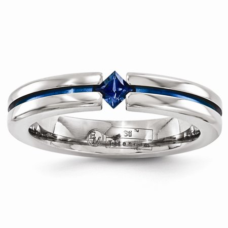 Edward Mirell Titanium Sapphire & Blue Anodized 4mm Band