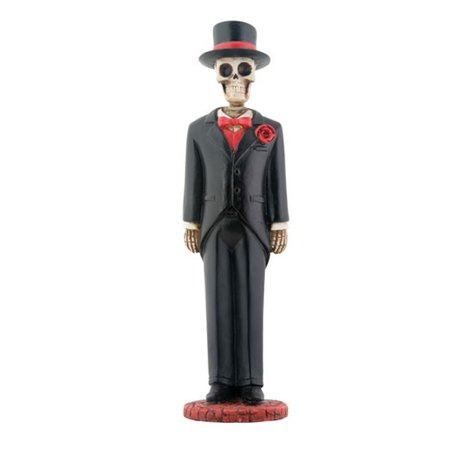 Wedding Skeleton Groom in Tuxedo Day of the Dead Dia de Los Muertos Figurine - Dia De Los Muertos Cat