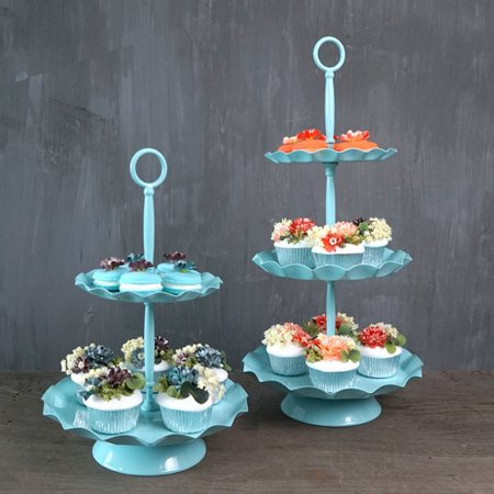2 Tier Cake Stand - 2/3 Tiers Metal Cake Stand Cupcake Stand Cake Holder Dessert Display Wedding Birthday Party Decor,Blue