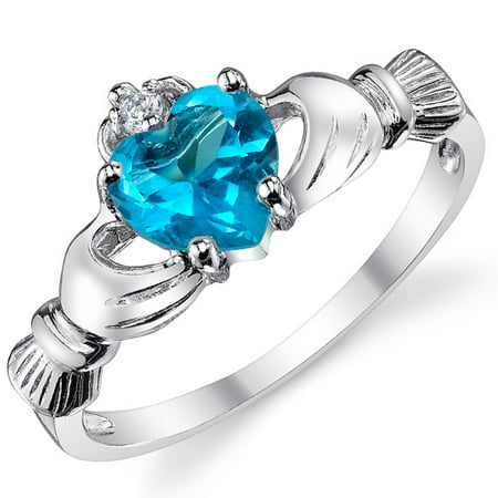 Sterling Silver 925 Irish Claddagh Friendship & Love Ring with Simulated Aquamarine Blue Color Heart Cubic Zirconia