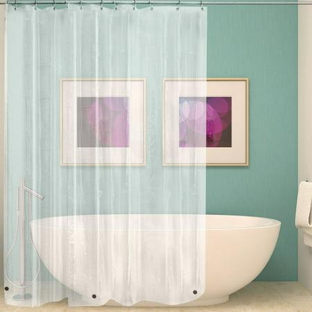 SOLID WATER REPELLANT BATHROOM SHOWER CURTAIN VINYL PLASTIC LINER CLEAR (Bathroom Shower Curtains Plastic)