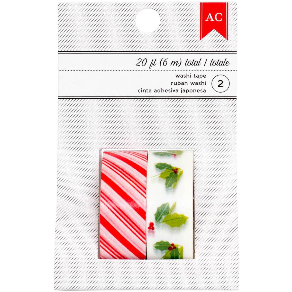 "Deck The Halls Washi Tape .59""X10' Rolls 2/Pkg-Candy Stripe & Holly"