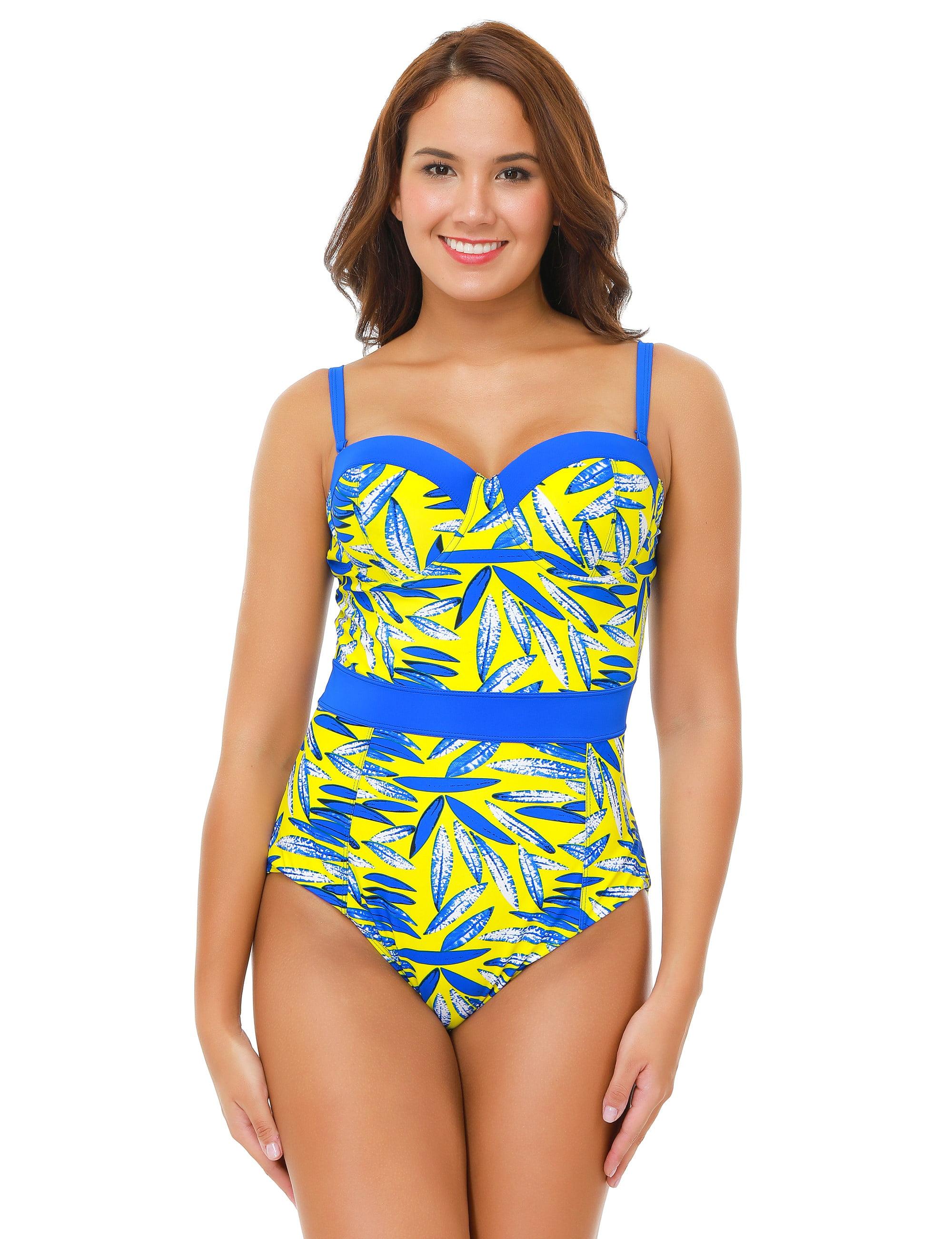 47f3aca08a58b SENFLOCO - Senfloco Women Plus Size Swimwear Sexy One-Piece Bikini Swimsuit  Leaves Vintage Bathing Suit with Bra Top, L-4XL - Walmart.com