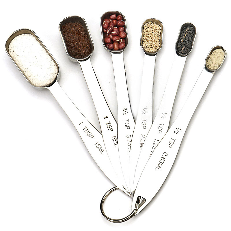 6Pcs Multipurpose Stainless Steel Graduated Measuring Spoons Kitchen Utensils by