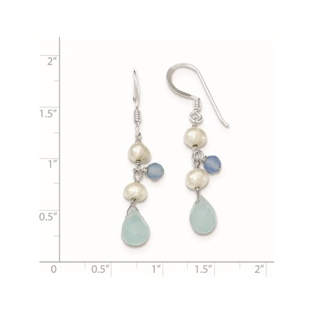 925 Sterling Silver Blue Topaz/Blue Agate/FW Cultured Pearl (7x39mm) Earrings - image 1 de 2