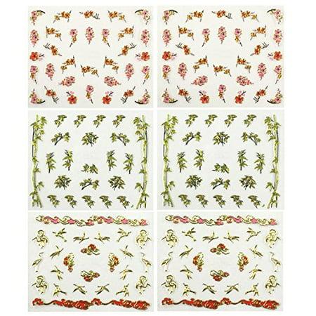 Wrapables® Fingernail Stickers Nail Art Nail Stickers Self-Adhesive Nail Stickers 3D Nail Decals - Asian Inspired Cherry Blossoms, Bamboos & Cranes (3 designs/6 sheets)