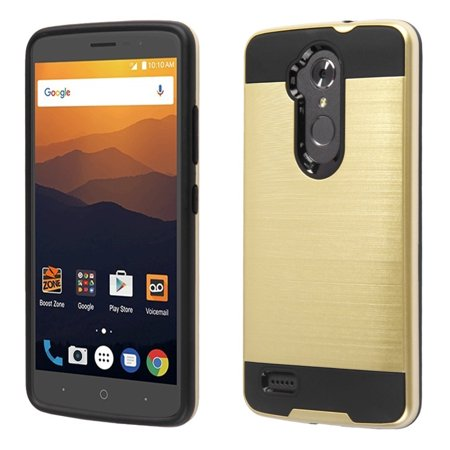 Zte Max Xl Phone Case  By Insten Hard Dual Layer Brushed Tpu Case For Zte Max Xl N9560   Gold Black