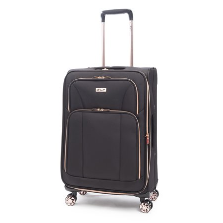 "iFLY Softside Luggage Sunset 24"", Black/Rose Gold"