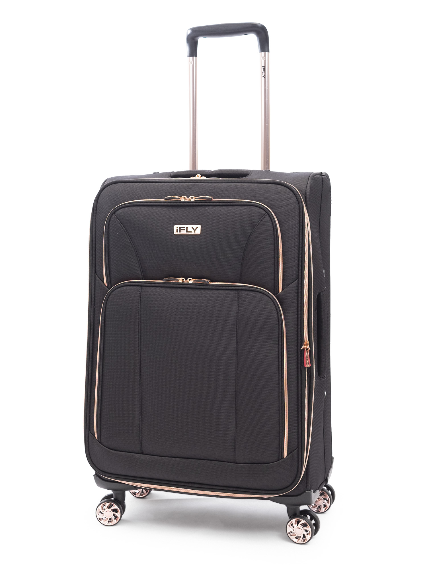"iFLY Soft Sided Luggage Sunset 24"", Black/Rose Gold"