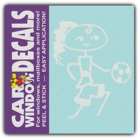 Car Window Decals: Teen Girl Child Soccer Ball | Family Stick Figures | Stickers