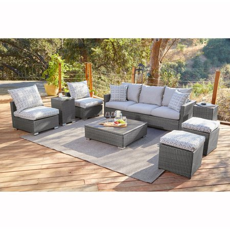Handy Seat - Handy Living  Aldrich Grey Indoor/Outdoor 8 pc Seating Group with Grey and Taupe Cushions