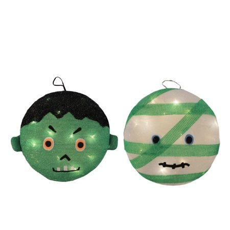 Set of 2 Battery Operated LED Lighted Mummy & Frankenstein Hanging Outdoor Halloween Decorations 14
