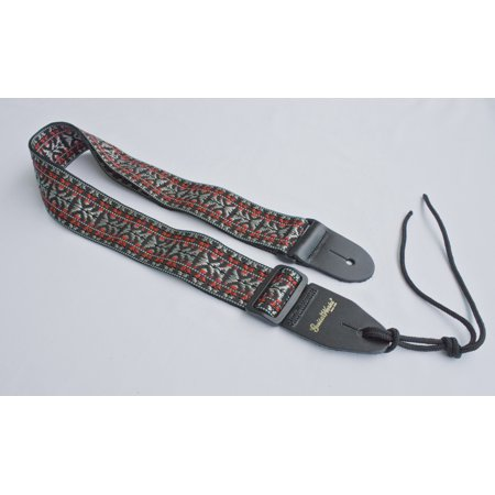 Guitar Strap BLACK RED SILVER WOVEN NYLON Fits All Acoustic Electric & Bass Made In USA Since 1978