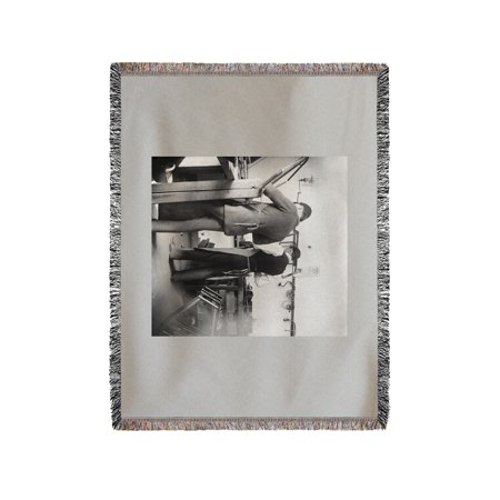 Orville And Friend At Wright Bicycle Shop Photograph  60X80 Woven Chenille Yarn Blanket
