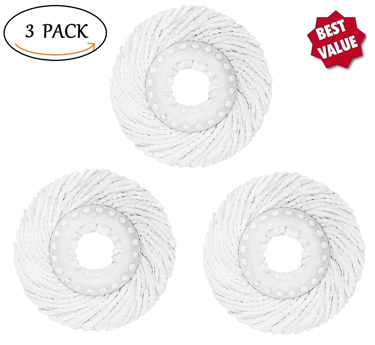 3 Pack High Quality Replacement Micro Mop Head Refill For Standard Universal Spin Mop,... by Bonison