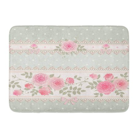 Shabby Rag - GODPOK Abstract Green Vintage Floral Polka Dot Pattern with Lace Bows and Pink Roses Shabby Chic Style Flower Rug Doormat Bath Mat 23.6x15.7 inch