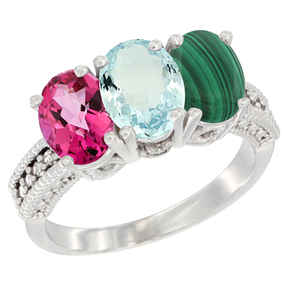 14K White Gold Natural Pink Topaz, Aquamarine & Malachite Ring 3-Stone 7x5 mm Oval Diamond Accent, sizes 5 10 by WorldJewels